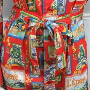 Shirtmaker Dresses - Vtg Shirtmaker Poly Dress French Language Buttons
